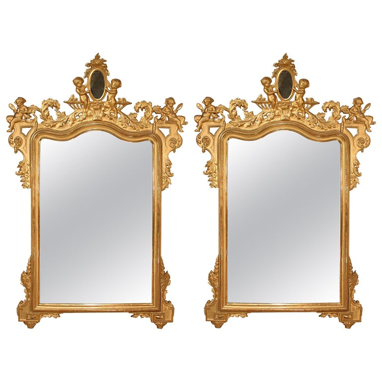 Pair of Italian 19th Century Giltwood Mirrors For Sale