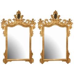 Pair of Italian 19th Century Giltwood Mirrors