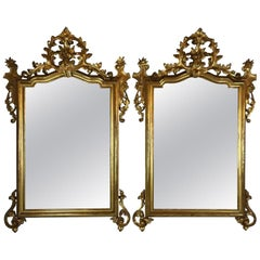 Pair of 19th Century Italian Giltwood Mirrors Neapolitan Louis Philippe Carving