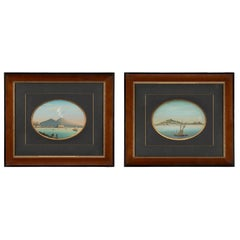 Pair of Italian 19th Century Gouaches Depicting Scenes of Naples, Italy