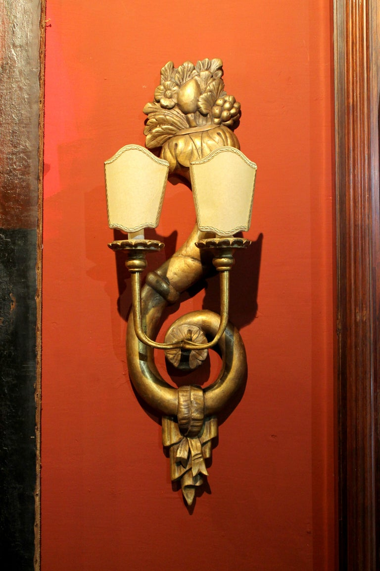 Pair of Italian 19th Century Hand Carved Giltwood Two Lights Wall Sconces For Sale 5