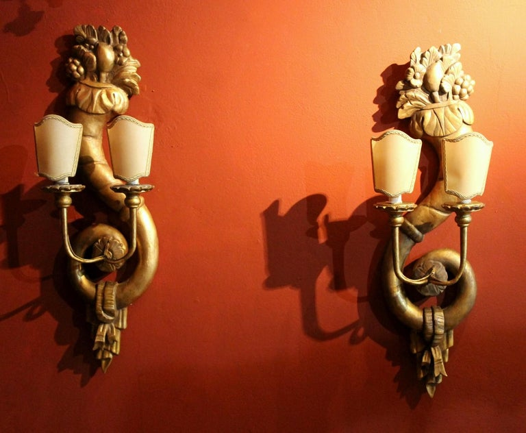 Pair of Italian 19th Century Hand Carved Giltwood Two Lights Wall Sconces For Sale 9