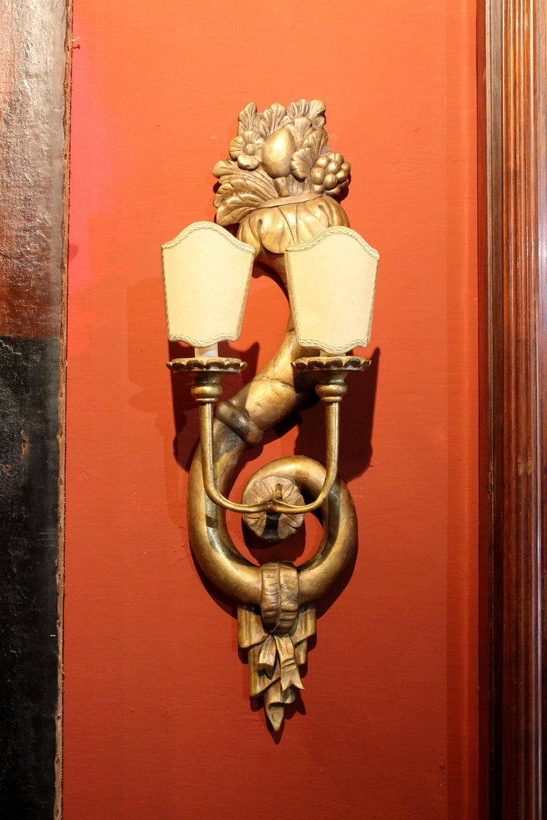 Pair of Italian 19th Century Hand Carved Giltwood Two Lights Wall Sconces For Sale 3