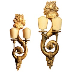Pair of Italian 19th Century Hand Carved Giltwood Two Lights Wall Sconces