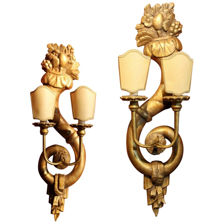 Pair of Italian 19th Century Hand Carved Giltwood Two Lights Wall Sconces For Sale