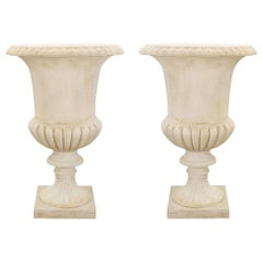 Pair of Italian 19th Century Large Scale White Carrara Marble Urns