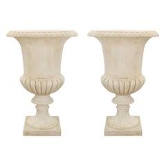Pair of Italian 19th Century Large Scale White Carrara Marble Urns