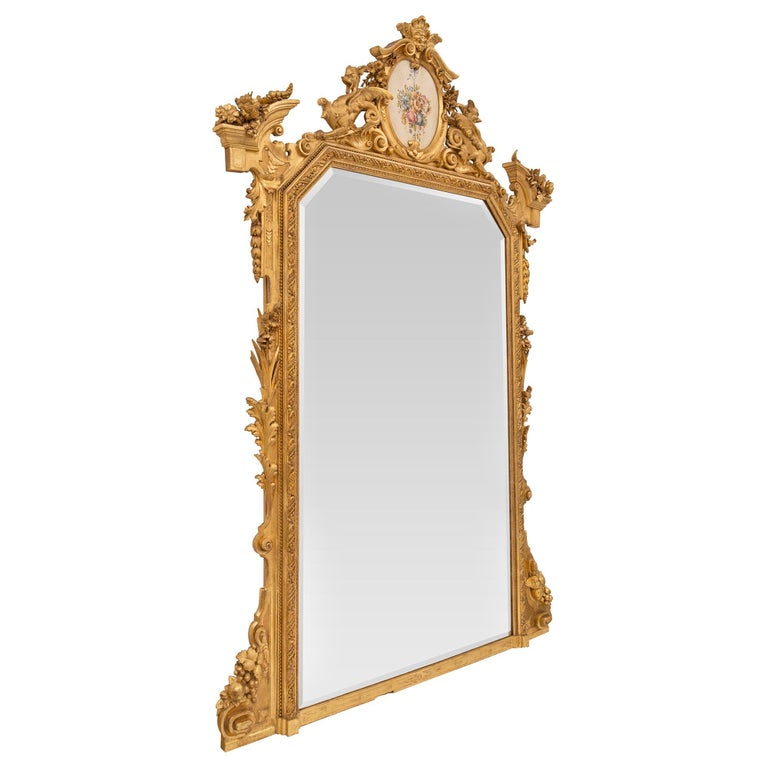 Pair of Italian 19th Century Lombardi Giltwood Mirrors In Good Condition For Sale In West Palm Beach, FL