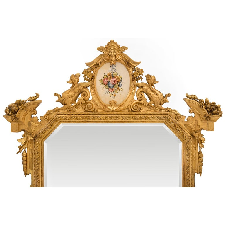 Pair of Italian 19th Century Lombardi Giltwood Mirrors For Sale 1