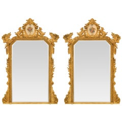 Pair of Italian 19th Century Lombardi Giltwood Mirrors