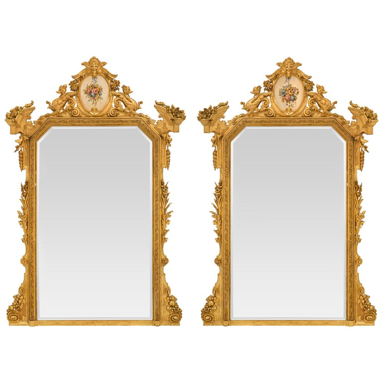 Pair of Italian 19th Century Lombardi Giltwood Mirrors For Sale