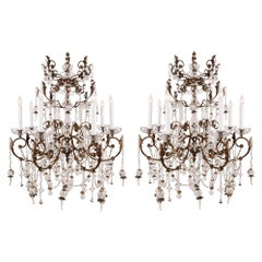 Pair of Italian 19th Century Louis XIV Style Crystal Chandeliers