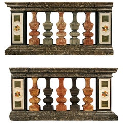 Pair of Italian 19th Century Louis XIV Style Marble Balustrades