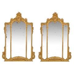Pair of Italian 19th Century Louis XV St. Giltwood Mirrors