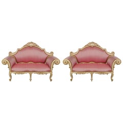 Italian 19th Century Louis XV Style Patinated and Giltwood Venetian Settee, Pair