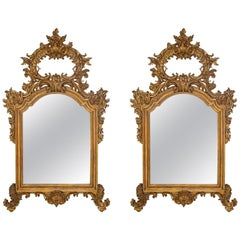 Pair of Italian 19th Century Louis XV Style Finely Carved Mecca Mirrors