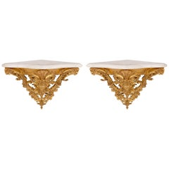 Pair of Italian 19th Century Louis XV Style Giltwood and Marble Wall Brackets