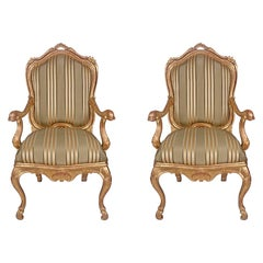 Pair of Italian 19th Century Louis XV Style Giltwood Armchairs À Chassis