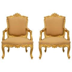 Pair of Italian 19th Century Louis XV Style Giltwood Armchairs
