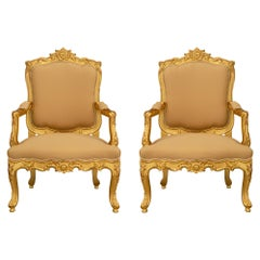 Pair of Italian 19th Century Louis XV Style Giltwood Armchairs