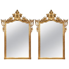 Pair of Italian 19th Century Louis XV Style Giltwood Mirrors