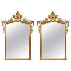 Pair of Italian 19th Century Louis XV Style Giltwood Mirrors