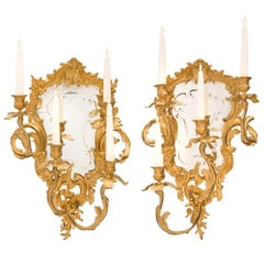 Pair of Italian 19th Century Louis XV Style Ormolu Mirrored Venetian Sconces