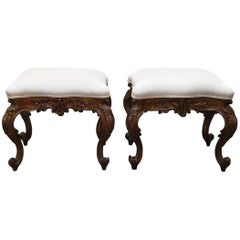 Pair of Italian 19th Century Louis XV Style Stools