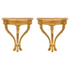 Pair of Italian 19th Century Louis XVI St. Giltwood and Marble Consoles