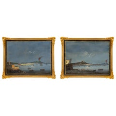 Pair of Italian 19th Century Louis XVI St. Gouaches