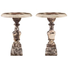 Pair of Italian 19th Century Louis XVI Style Marble Side Tables