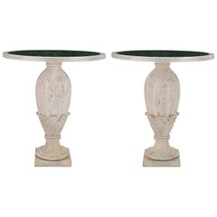 Pair of Italian 19th Century Louis XVI St. Marble Tables