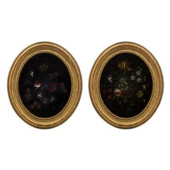 Pair of Italian 19th Century Louis XVI St. Oval Still Lifes