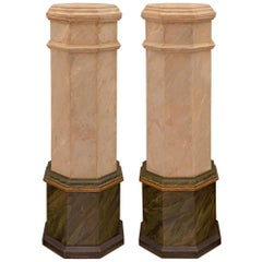 Pair of Italian 19th Century Louis XVI Style Patinated Wood Pedestal Columns