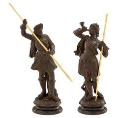Pair of Italian 19th Century Louis XVI St. Terra Cotta and Giltwood Statues