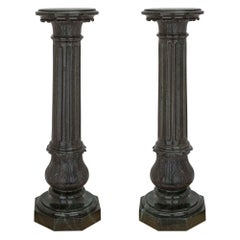 Pair of Italian 19th Century Louis XVI St. Verde Antico Marble Column Pedestals