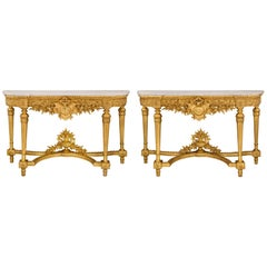 Pair of Italian 19th Century Louis XVI Style Giltwood and Marble Consoles