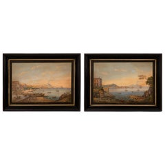 Pair of Italian 19th Century Louis XVI Style Gouaches