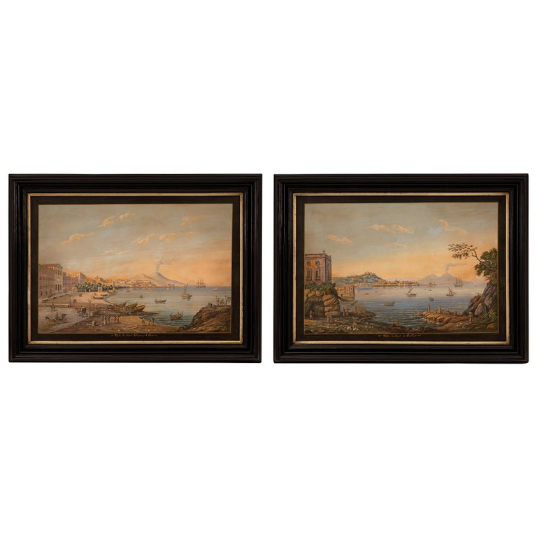Pair of Italian 19th Century Louis XVI Style Gouaches in Mecca Frames For Sale