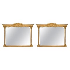 Pair of Italian 19th Century Louis XVI Style Large Scale Giltwood Mirrors
