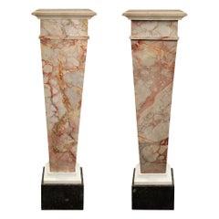 Pair of Italian 19th Century Louis XVI Style Marble Pedestals