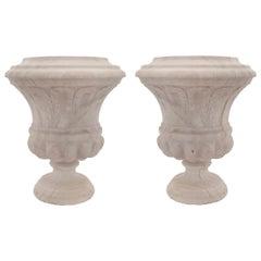 Pair of Italian 19th Century Louis XVI Style Marble Urns
