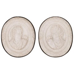 Pair of Italian 19th Century Marble and Iron Decorative Wall Plaques