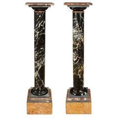 Pair of Italian 19th Century Marble Pedestal Columns