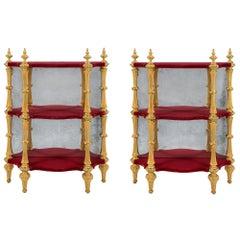 Pair of Italian 19th Century Napoleon III Period Giltwood Étagères