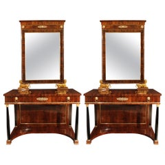 Pair of Italian 19th Century Neoclassical Style Consoles and Mirrors