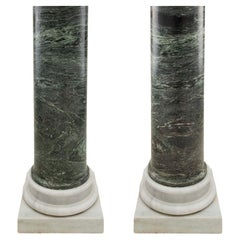 Pair of Italian 19th Century Neo-Classical St. Green Marble Columns