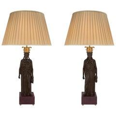 Pair of Italian 19th Century Neoclassical St. Lamps