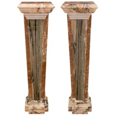 Pair of Italian 19th Century Neoclassical St. Onyx and Marble Pedestal Columns
