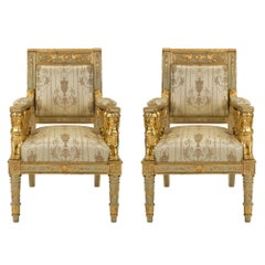 Pair of Italian 19th Century Neoclassical Style Armchairs